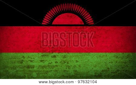 Flags Malawi With Dirty Paper Texture. Vector