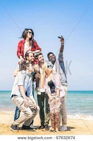 Group Of Multiracial Happy Friends Taking A Selfie At The Beach - International Friendship Concept