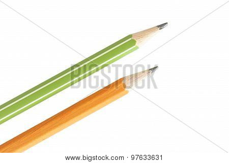 Two Isolated Pencils On White Background
