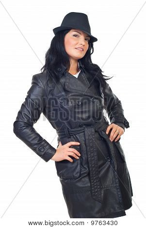 Beautiful Detective Woman In Leather