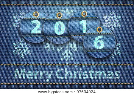 Merry Christmas Greetings On Blue Jeans Background