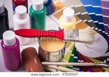 Color Palette, Brush On White Wooden Background