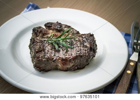 Juicy Grilled Rib Eye Steak With Cutlery