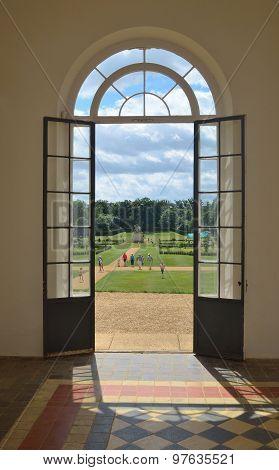 Doorway in Orangery Wrest park Silsoe Bedfordshire England.