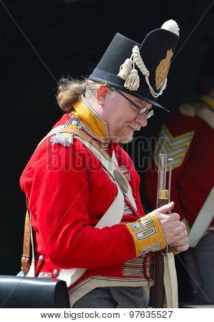 nfantry man in Napoleonic uniform of British Infantry of the line.