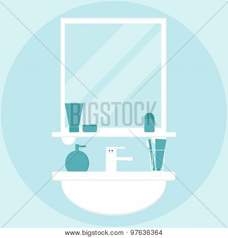 Modern bathroom interior with mirror and washbasin in white and blue colors.