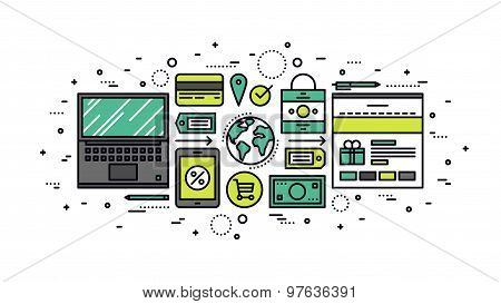 Global Commerce Line Style Illustration