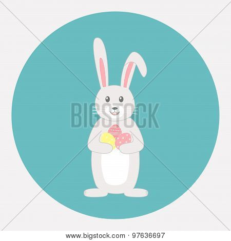 Cute grey rabbit with Easter eggs