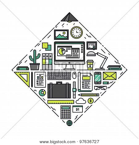 Business Things Line Style Illustration
