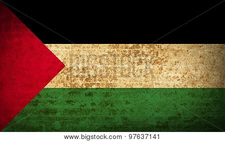 Flags Palestine With Dirty Paper Texture. Vector
