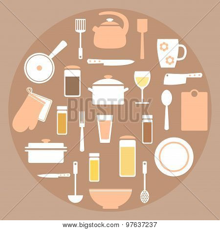 Modern kitchen stuff set elements in coral, white and brown colors.