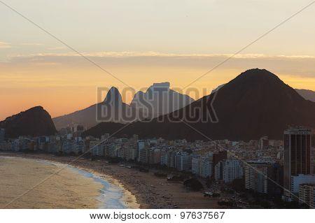 Sunset On Copacabana Beach, Rio De Janeiro, Brazil