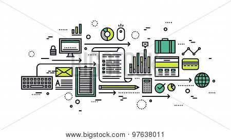 Business Analytics Line Style Illustration