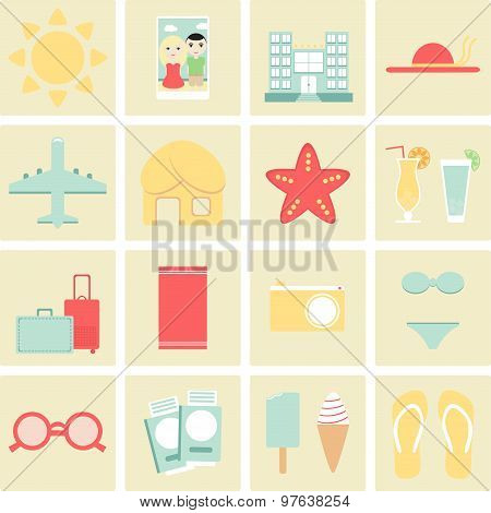 Summer vacation icons set. Flat vector design. Yellow, blue and red color.