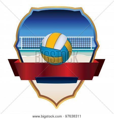 Beach Volleyball Emblem Illustration