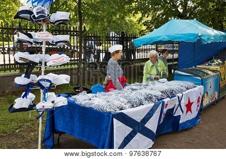 Two Saleswomen Sell Souvenirs With Marine Symbols