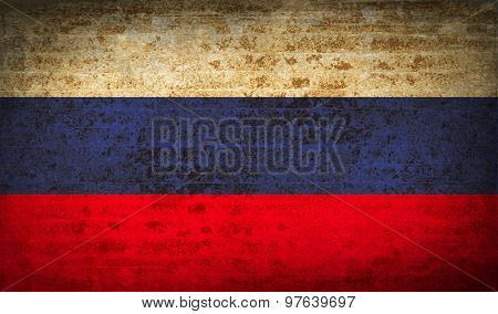 Flags Russia With Dirty Paper Texture. Vector