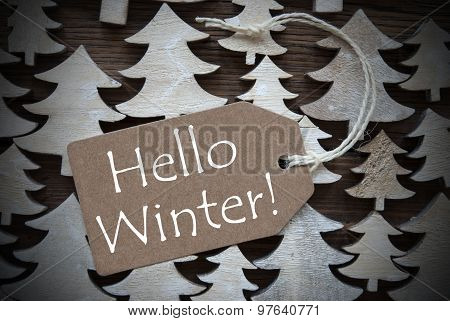 Brown Christmas Label With Hello Winter