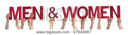 Hands Holding Red Straight Word Men And Women