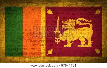 Flags Sri Lanka With Dirty Paper Texture. Vector