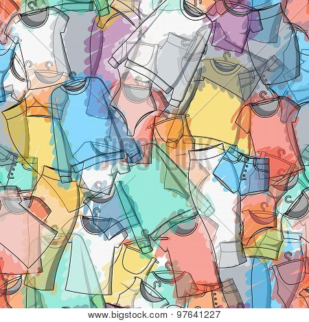 Seamless pattern of colorful clothes for stylish design