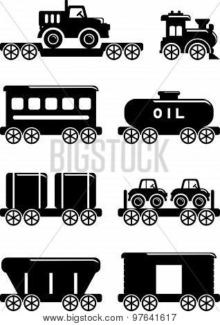Set of silhouette toys railway in a flat style.
