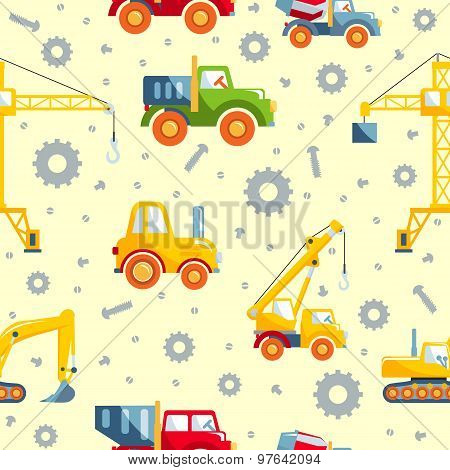 Toys heavy construction machines seamless pattern