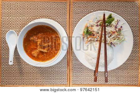 Khmer A-mok With Rice And Vegetable Salad