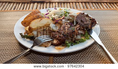 Khmer Barracuda Steak With Vegetable Salad