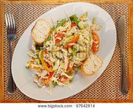 Asian Vegetable Salad With Chicken And Baguette
