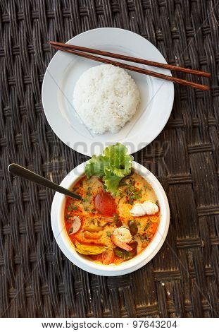 Tom Yam Seafood Soup Served With Rice