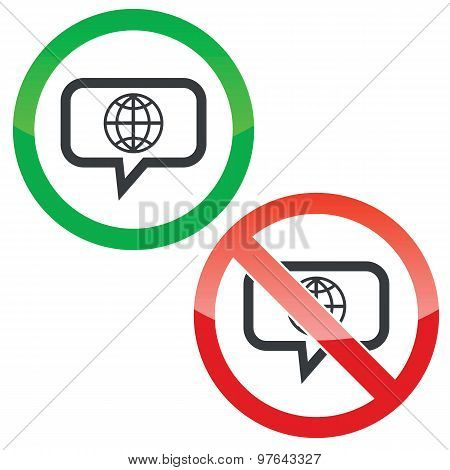 Globe message permission signs