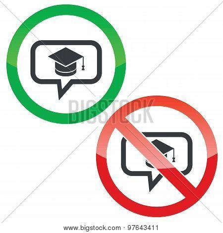 Graduation message permission signs