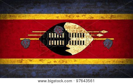 Flags Swaziland With Dirty Paper Texture. Vector