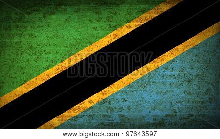 Flags Tanzania With Dirty Paper Texture. Vector