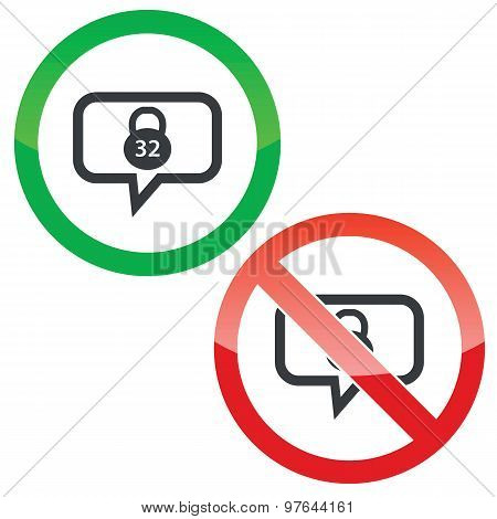 Dumbbell message permission signs