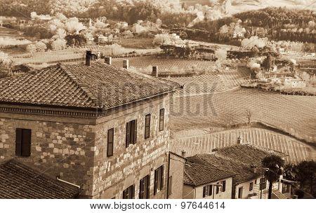 Italy. Tuscany. Montepulciano. In Sepia Toned. Retro Style