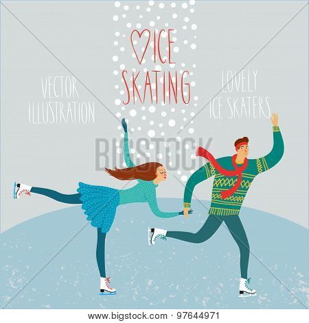 Cartoon Ice Skaters Boy And Girl Poster