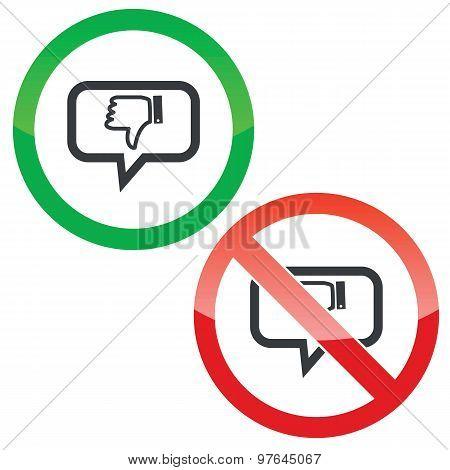 Dislike message permission signs