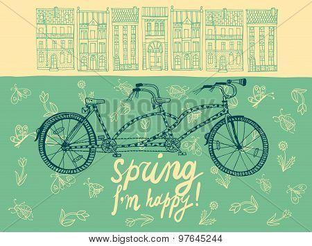 Spring Tandem Bicycle