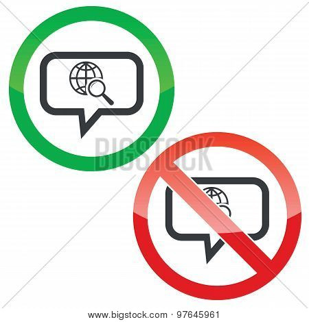 Global search message permission signs