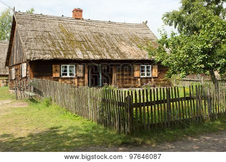 Poland. The Historic Cottage Village Of The 19Th Century.horizontal View.