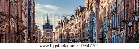 Historic Old Town with the town hall on Long Market of Gdansk in Poland