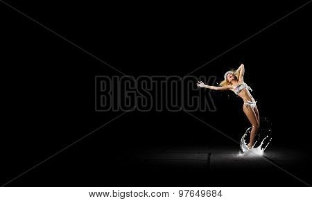 Girl dancing in dark
