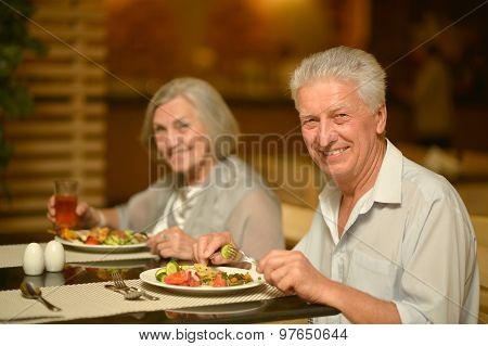 Mature couple at dinner