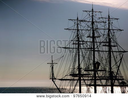 The Outline Of A Sailing Ship In The Sea