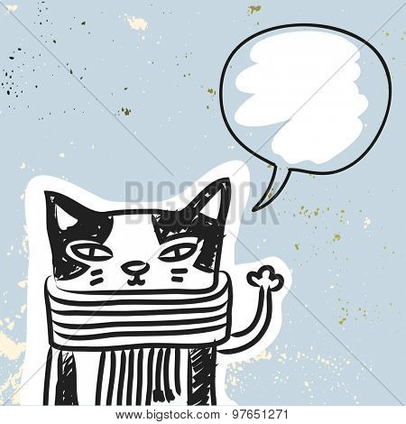 Funny Cat with blank, empty speak balloon, hand drawn doodle vector illustration