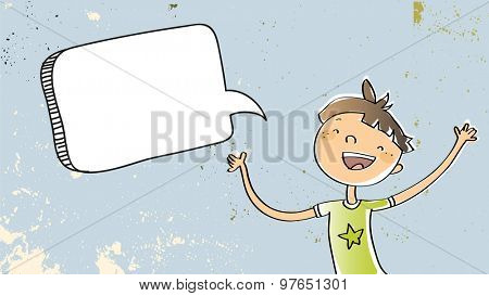 Happy Boy speaking a message, with blank speech balloon. Doodle style hand drawn illustration, vector line art. Communication concept.