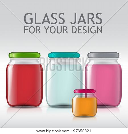 template of glass jars. Bottle juice, jam, liquids.
