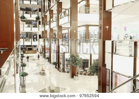 MOSCOW, RUSSIA  -  MARCH 26, 2015: Interior of the Crocus City Mall. Crocus City complex (Mall, Expo, Hotels, Concert hall, Restaurants)